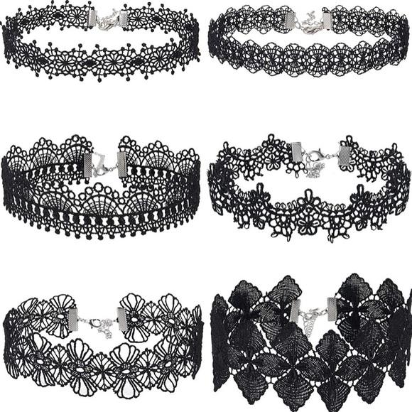 Jewelry - 6 PCS Choker Necklace Black Choker Lace